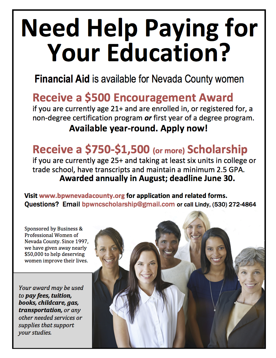 Business Professional Women Of Nevada County Scholarship Program